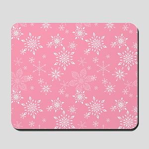 Snowflakes Pink Mousepad