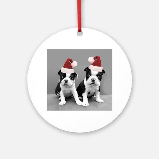 Christma Boston Terriers Round Ornament