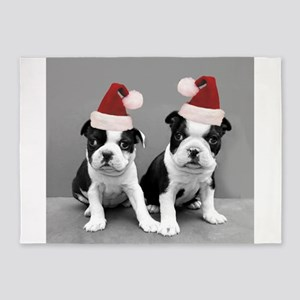 Christma Boston Terriers 5'x7'Area Rug