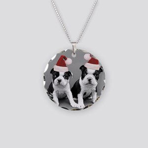 Christma Boston Terriers Necklace Circle Charm