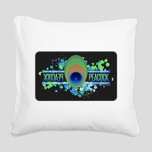 Peacock Black Square Canvas Pillow