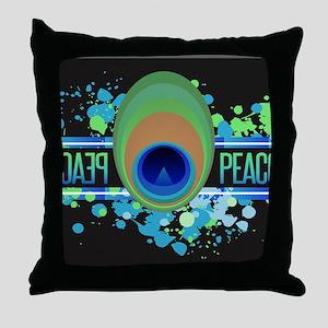 Peacock Black Throw Pillow