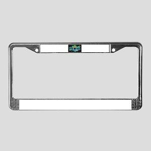 Peacock Black License Plate Frame