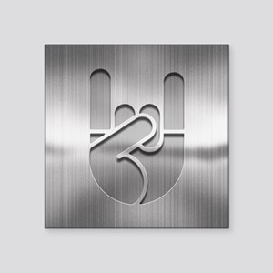 "Stainless Rock Hand Square Sticker 3"" x 3"""