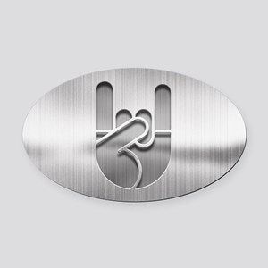 Stainless Rock Hand Oval Car Magnet