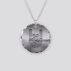 Stainless Rock Hand Necklace Circle Charm
