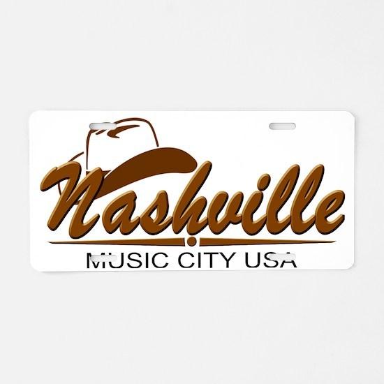 Nashville Music City-BRN Aluminum License Plate