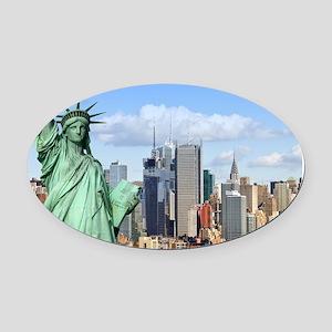 NY LIBERTY 1 Oval Car Magnet