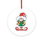 Naughty Elf Round Ornament