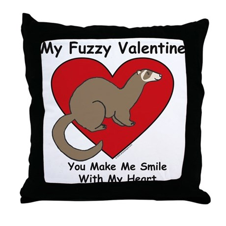 Fuzzy Valentine - Ferret - Throw Pillow