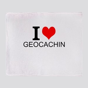 I Love Geocaching Throw Blanket