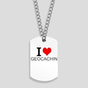I Love Geocaching Dog Tags