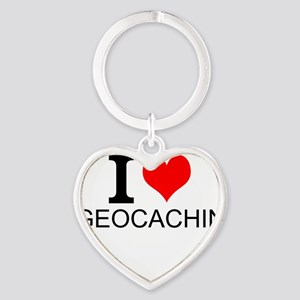 I Love Geocaching Keychains
