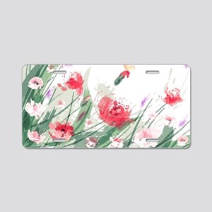 Flowers Painting Aluminum License Plate