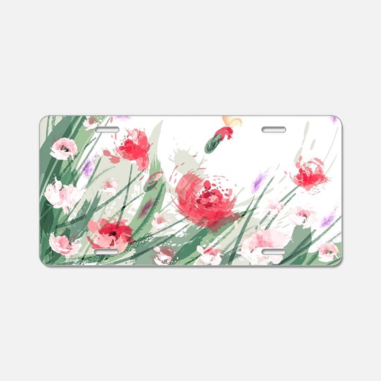 Flowers Painting Aluminum License Plate