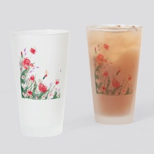 Flowers Painting Drinking Glass