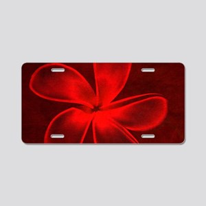 Flower Tropical Red Aluminum License Plate