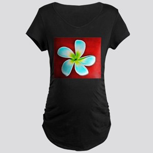 Flower Tropical Red White Turquo Maternity T-Shirt
