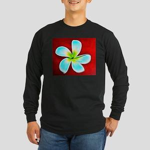 Flower Tropical Red White Turq Long Sleeve T-Shirt
