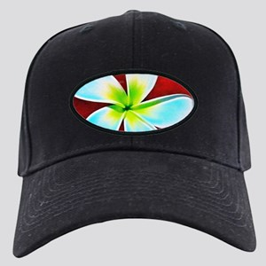 Flower Tropical Red White Turquoise Yell Black Cap