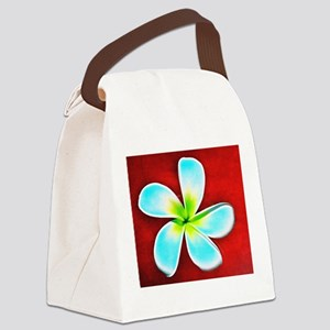 Flower Tropical Red White Turquoi Canvas Lunch Bag