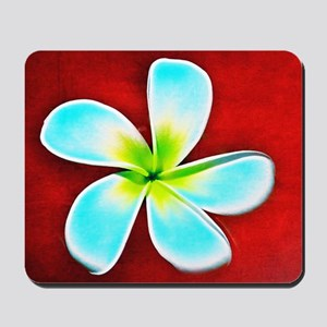 Flower Tropical Red White Turquoise Yell Mousepad