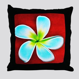 Flower Tropical Red White Turquoise Y Throw Pillow
