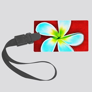 Flower Tropical Red White Turquo Large Luggage Tag