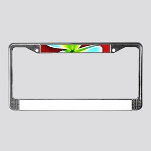 Flower Tropical Red White Turq License Plate Frame