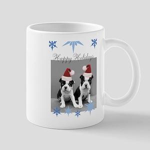 Happy Holidays Boston Terriers Mugs