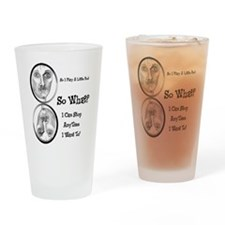Funny Pool Hall Junkie Cartoon Drinking Glass