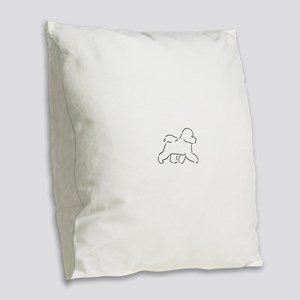 Bichon pen and ink Burlap Throw Pillow
