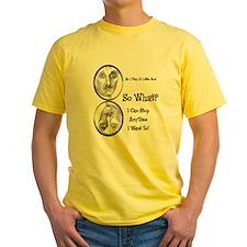 Funny Pool Hall Junkie Cartoon Yellow T-Shirt