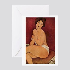 Nude Sitting on a Divan by Modiglian Greeting Card