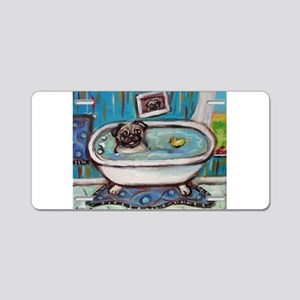 sweet pug bathtime Aluminum License Plate