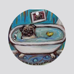 sweet pug bathtime Round Ornament