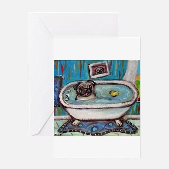sweet pug bathtime Greeting Cards