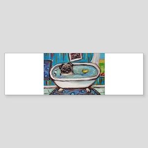 sweet pug bathtime Bumper Sticker