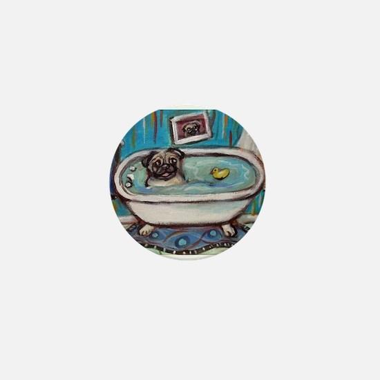 sweet pug bathtime Mini Button