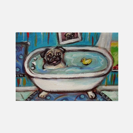 sweet pug bathtime Magnets