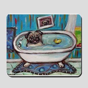 sweet pug bathtime Mousepad