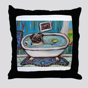 sweet pug bathtime Throw Pillow