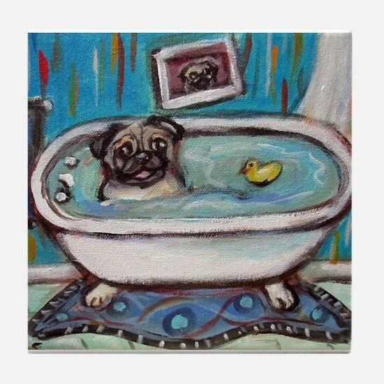 sweet pug bathtime Tile Coaster