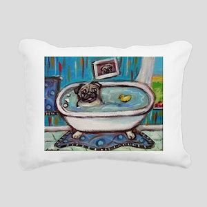 sweet pug bathtime Rectangular Canvas Pillow