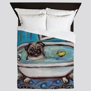 sweet pug bathtime Queen Duvet