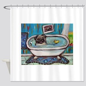 sweet pug bathtime Shower Curtain