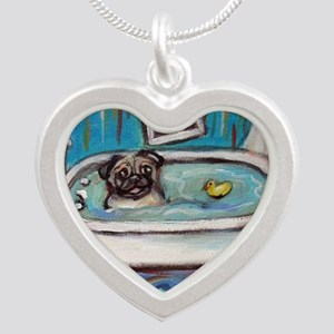 sweet pug bathtime Necklaces