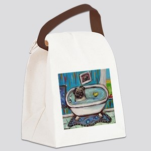 sweet pug bathtime Canvas Lunch Bag