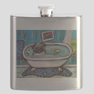 sweet pug bathtime Flask