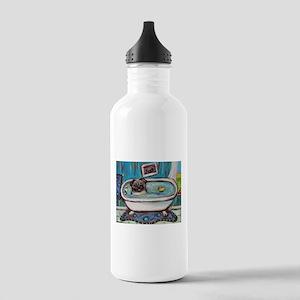 sweet pug bathtime Water Bottle